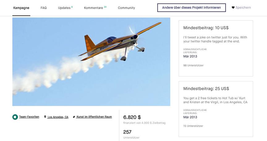 Crowdfunding Kickstarter Flugzeug