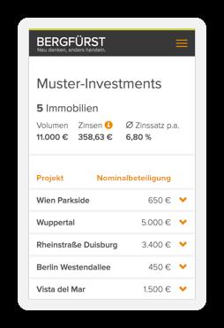 """Bildschirmfoto """"Meine Investments"""" vom Handy"""
