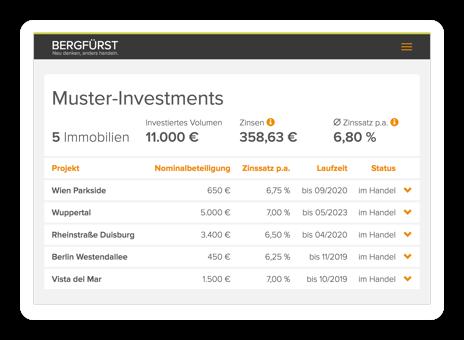 """Bildschirmfoto """"Meine Investments"""" vom Tablet"""
