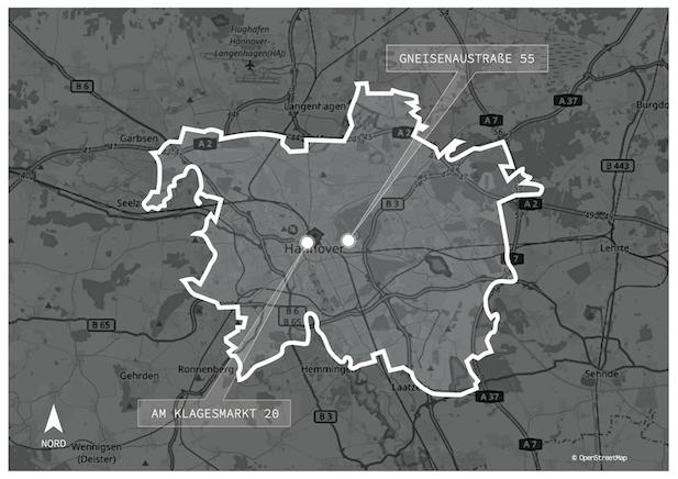 Hannover auf der Deutschlandkarte