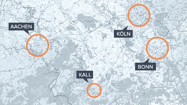 Nordeifel/Kall auf einer Karte von Nordhrein-Westfalen, Makrolage